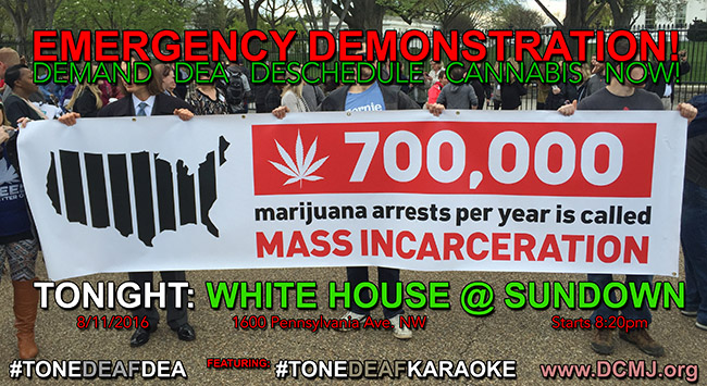 TONIGHT: EMERGENCY LEGALIZATION DEMONSTRATION AT THE WHITE HOUSE