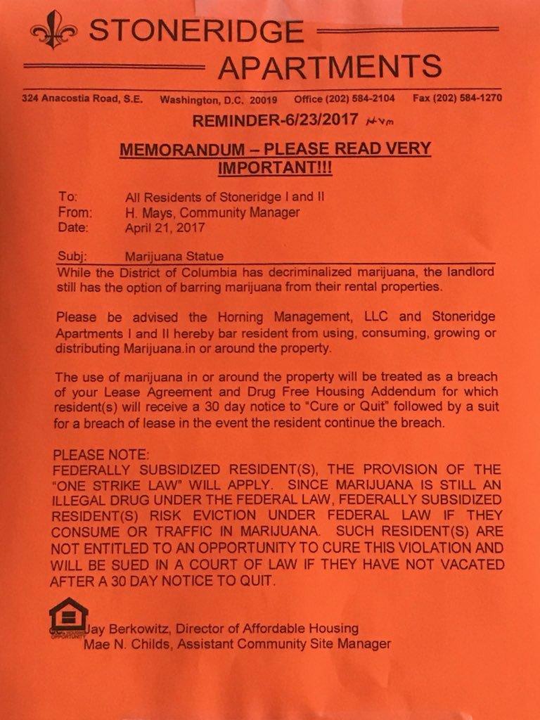 Stoneridge Appartments Notice
